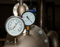 Industrielles Wassertemperaturmeßinstrument Stockfoto