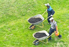 Industriellt arbeta i trädgården Arkivbild
