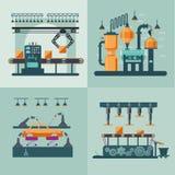 Industriellt begrepp för fabriksinrefyrkant vektor illustrationer