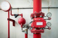 Industriellt brandskyddssystem, industriell utrustning royaltyfria foton