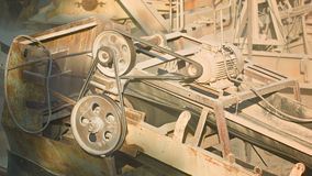 Industriellt dammigt gammalt rostigt maskineri Stenkross i handling arkivfilmer