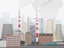 Industriellt fabrikslandskap Växt eller fabrik stadsbakgrunden i dimma vektor illustrationer
