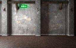 Industriellt inre rum med betongväggar och glödande utgångssi stock illustrationer