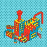 Industriellt isometriskt för växt Fabrik isolerad stil för popkonst Vect royaltyfri illustrationer
