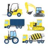 Industriellt konstruktionstrans. med lastbilen och traktoren vektor illustrationer