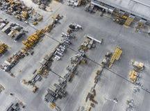 Industriellt lagringsställe, sikt från över arkivfoton