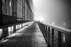 Industriellt landskap för natt, en stad, en svart vit bild Royaltyfria Foton