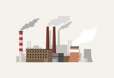Industriellt landskap för plan design med fabriksvektorillustratio Royaltyfria Bilder