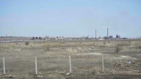 Industriellt landskap i Kasakhstan stock video