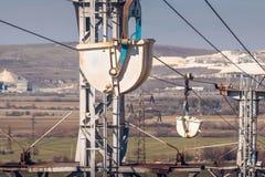 Industriellt landskap med den materiella ropewayen som transporterar Breaksto Royaltyfria Bilder