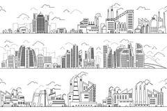 Industriellt landskap och hand dragen cityscape Vektorn planterar byggnadslinjen konturer vektor illustrationer