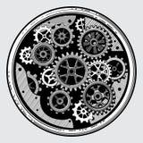Industriellt maskineri för tappning med kugghjul Kugghjulöverföring i hand dragen vektorillustration för gammal stil royaltyfri illustrationer