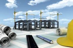 industriellt projekt för konstruktion stock illustrationer