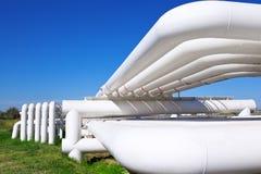 Industriellt rør med gas och olja och vatten Fotografering för Bildbyråer