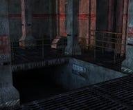 Industriellt rum med trappa till den tekniska avdelningen Royaltyfri Foto