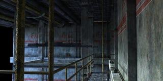 Industriellt rum med trappa till den tekniska avdelningen Fotografering för Bildbyråer