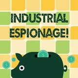 Industriellt spionage för ordhandstiltext Affärsidé för formen av spionage som föras för kommersiella avsikter stock illustrationer