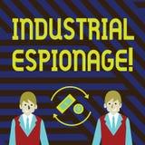 Industriellt spionage för ordhandstiltext Affärsidé för formen av spionage som föras för kommersiella avsiktpengar vektor illustrationer