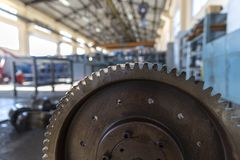 Industriellt stålkugghjulhjul fotografering för bildbyråer