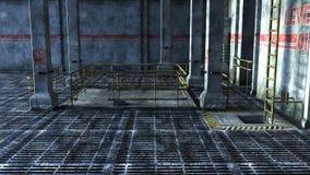 Industriellt utrymme med hissen och trappa Royaltyfri Bild