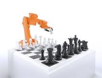 Industrieroboter, der Schach spielt Lizenzfreie Stockfotografie