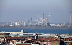 Industries factories and smokestacks near Venice in Italy Stock Photos