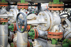 Industries of oil refining and gas,valve for oil Royalty Free Stock Photography