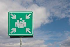 Industriezeichen, wo man im Falle des Notfalles trifft Lizenzfreies Stockbild