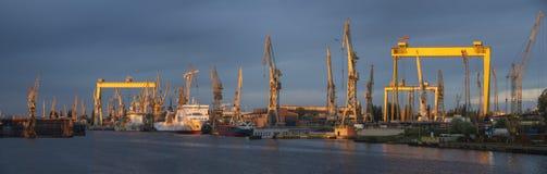 Industriezones van de scheepswerf in Szczecin in Polen, hoog onderzoek Royalty-vrije Stock Foto