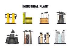 Industriële gebouwen en fabrieken Kern en elektrische centrales Vector Royalty-vrije Stock Fotografie