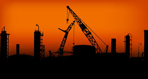 Industry 02. Group of Factories in the sunset Royalty Free Stock Photos