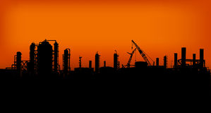 Industry 03. Group of Factories in the sunset Stock Image