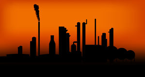 Industry 04. Group of Factories in the sunset Stock Photo