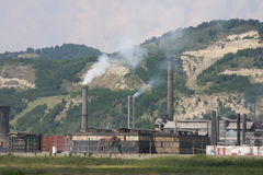 Industry. Old industry, smokestacks only bad things for pollution Stock Image