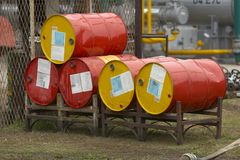 Industry 3. Close up of industrial tanks of oil industry production Stock Photos