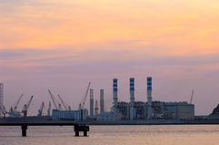 Industry. And sunset with pink sky Stock Photo