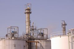 Industry. A detail of chemical industry with oil storage tanks Royalty Free Stock Photos