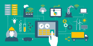 Industry 4.0. Automation, internet of things concepts and tablet with human machine interface stock illustration