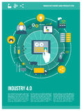 Industry 4.0. Automation, internet of things concepts and tablet with human machine interface, poster layout vector illustration