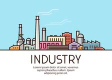 Industry banner. Industrial production, factory building concept. Vector illustration. Industry banner. Industrial production, factory building concept Vector Stock Images