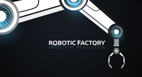 Industry 4.0 banner with robotic arm. Smart industrial revolution, automation, robot assistants. Vector illustration. Industry 4.0 banner with robotic arm stock illustration