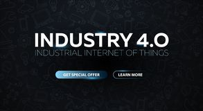 Industry 4.0 banner with robotic arm. Smart industrial revolution, automation, robot assistants. Vector illustration. Industry 4.0 banner with robotic arm vector illustration