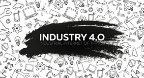 Industry 4.0 banner. Smart industrial revolution, automation, robot assistants. Vector illustration. Industry 4.0 banner Smart industrial revolution, automation vector illustration