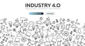 Industry 4.0 banner. Smart industrial revolution, automation, robot assistants. Vector illustration. Industry 4.0 banner Smart industrial revolution, automation stock illustration