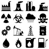 Industry Black and White Icons. Collection of 16 black and white industry, plant and factory icons, isolated on white background. Eps file available stock illustration