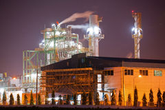 Industry boiler in Oil Refinery Plant at night Stock Image