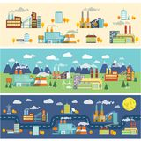 Industry buildings horizontal banners Stock Photo