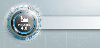Industry 4.0 Button Circuit Board Banner. Header with black button and text Industry 4.0 stock illustration
