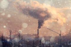 Industry chimney smoke greenhouse. Effect Royalty Free Stock Image