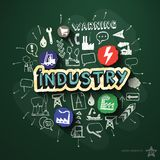 Industry collage with icons on blackboard Stock Image